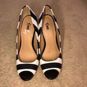 Black and white stripped heels